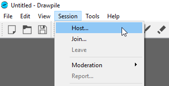 Session dropdown with host hovering