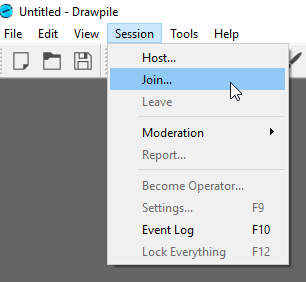 Session dropdown with join hovering